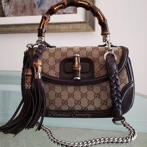Gucci GG Supreme Canvas Brown Leather Handbag